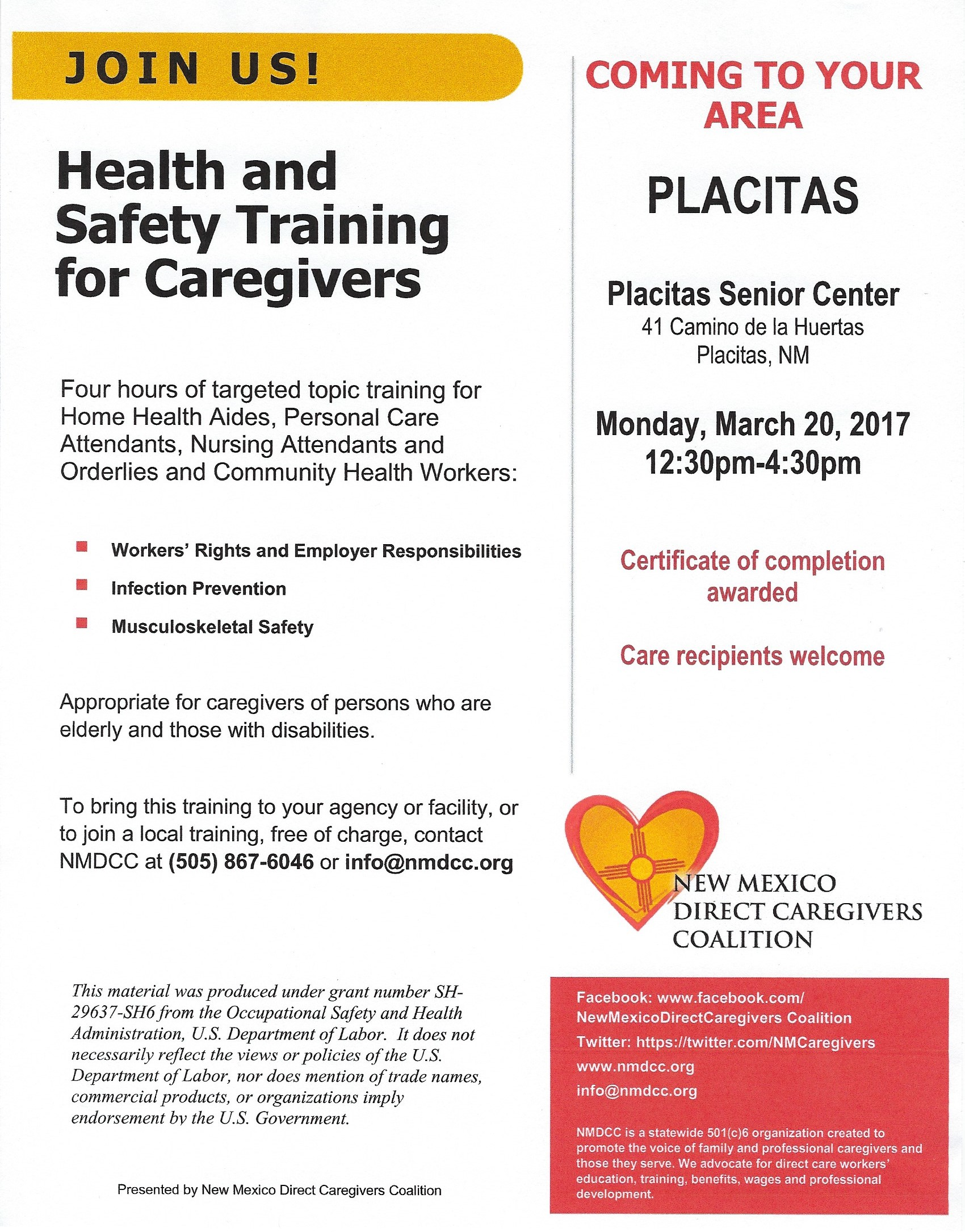 Upcoming health and safety for caregivers training on march 20 2017 1betcityfo Gallery
